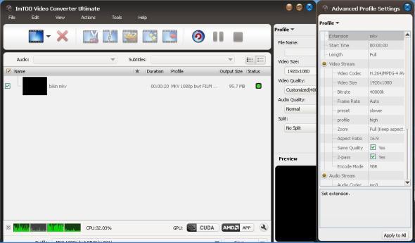 Render mkv menggunakan ImToo Ultimate Encoder